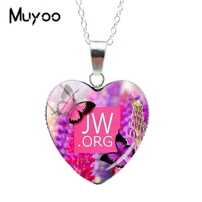 Collar con domo de cristal de corazón JW. Orgh de flores de colores plateados 2019 con colgantes de corazón de testigos de joyería regalos encantadores para christanshz3