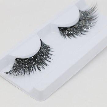 YOKPN Glitter False Eyelashes Art Stage Modeling Performance Makeup Lashes  Fashion Shimmery Exaggerated Fake Eyelashes 2 Color