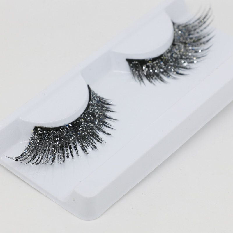 YOKPN Glitter False <font><b>Eyelashes</b></font> Art Stage Modeling Performance Makeup Lashes Fashion Shimmery Exaggerated Fake <font><b>Eyelashes</b></font> <font><b>2</b></font> Color image