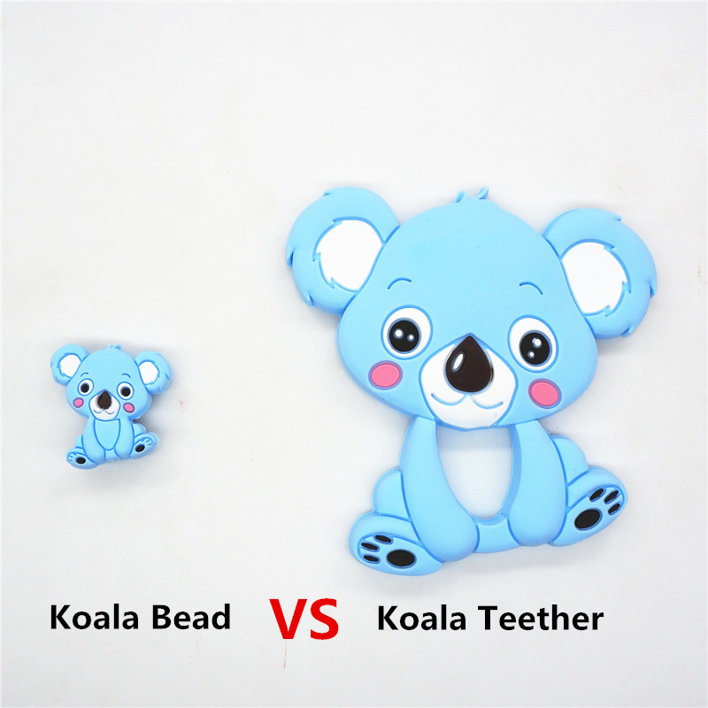 Купить с кэшбэком Chenkai 50PCS Silicone Koala Teether Beads DIY Animal Cartoon Baby Chewing Pacifier Dummy Sensory Jewelry Toy Making Beads