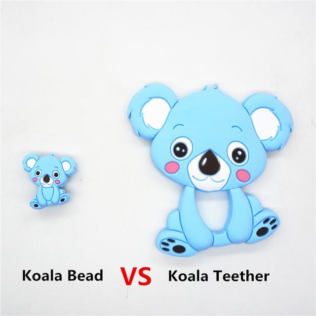 Chenkai 50PCS BPA Free Silicone Koala Teether Beads DIY Animal Cartoon Baby Chewing Pacifier Dummy Sensory Toy Accessories