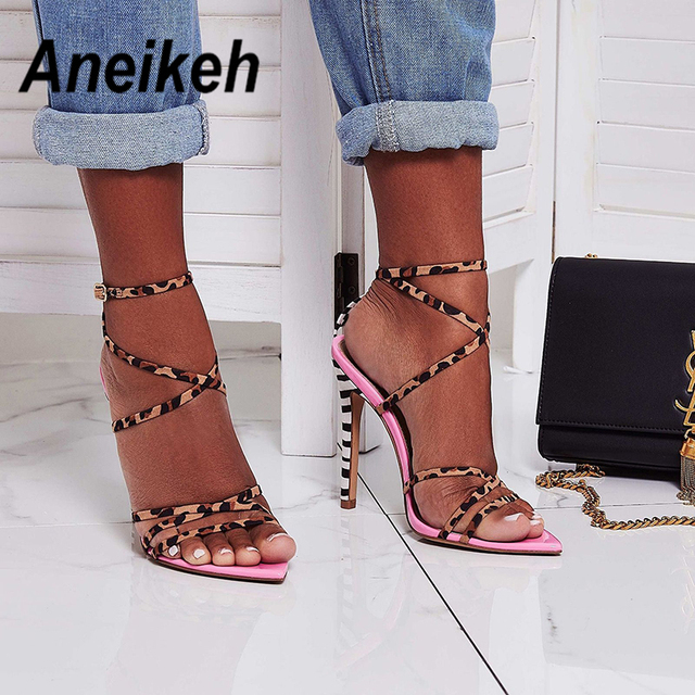 Aneikeh 2019 Sexy Flock Gladiator Sandals Summer Shoes Women Thin High Heels Open Toe Lady Cross-tied Ankle Strap Shoes Size 4-9