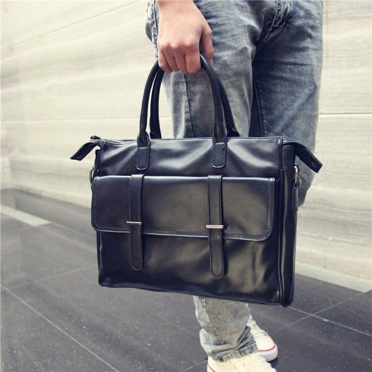 2019 New Men's Pu Leather Handbags Business Travel Bag Computer Laptop Bag Crossbody Shoulder Bike Bag