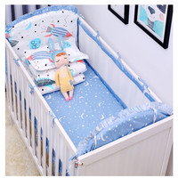 2019 New 6pcs/set Baby Bedding Cartoon Pattern Newborns Baby Bed Set Washable Summer Mesh Bumpers Infant Crib Bedding Set Linen
