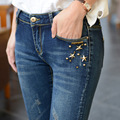 Boyfriend Jeans Para Mujeres de la Venta Directa Nueva Llegada En El la primavera De 2016 Delgado Lápiz Pies Pantalones Vaqueros Al Por Mayor Taobao agente