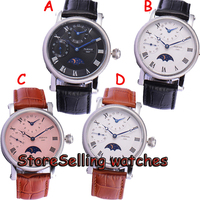 42mm Parnis White Dial Moon Phase GMT Hand Winding Mens Wrist Watch