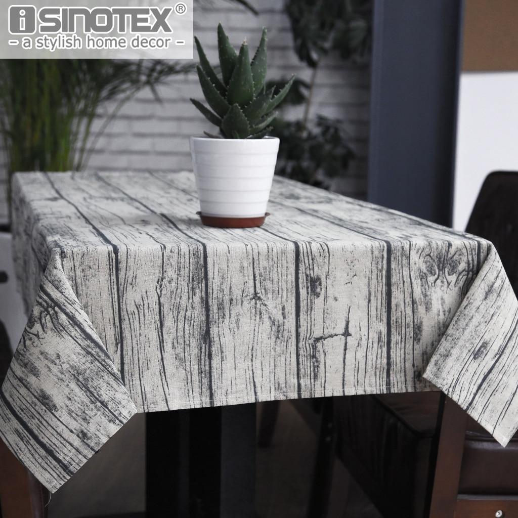Retro Wood Grain Tablecloth Cotton Linen Fabric Table