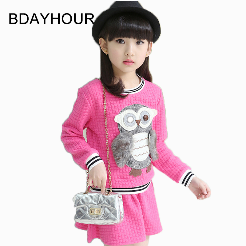 ФОТО Spring Suit 2017 Spring New Cartoon Three-Dimensional Owl Decal Girl'S Long-Sleeved Round Neck  Children'S Sets (Sweater+Skirts)