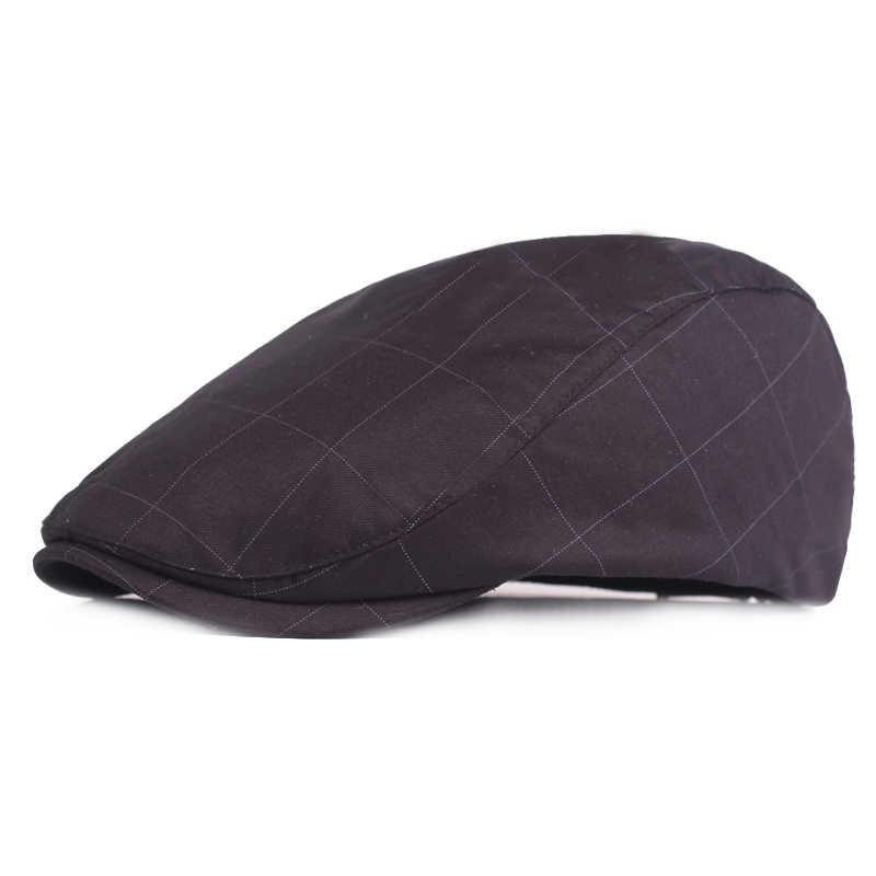 Брендовые осенне-зимние шапки для мужчин, повседневные хлопковые береты, британский стиль, плоская кепка, Классический берет, винтажный головной убор в клетку для взрослых