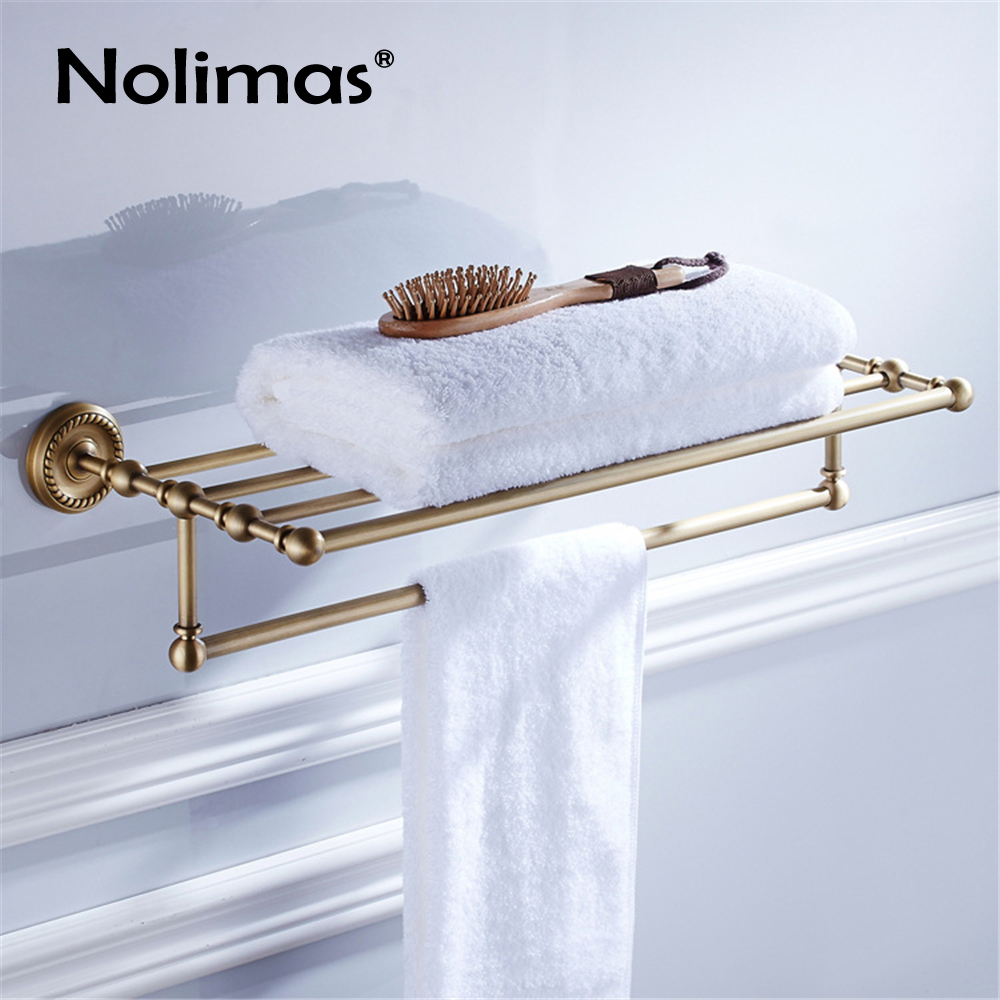Bathroom Copper Towel Bar Antique Brass Toilet Towel Holder Towel Rack Shelf Solid Holder Brief Fixed Bathroom Accessory fully copper bathroom towel ring holder silver