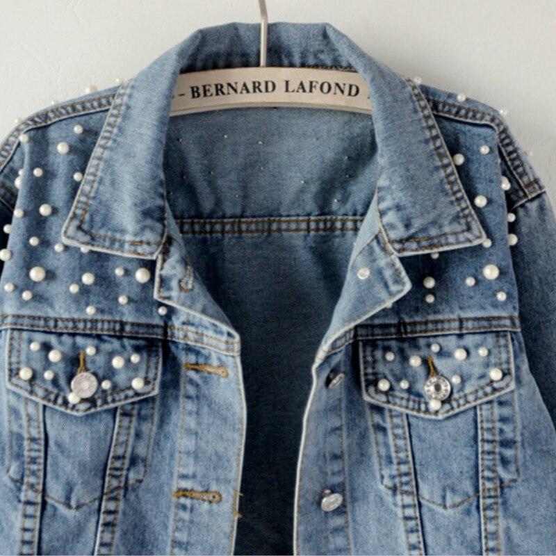 Женская джинсовая куртка, с длинным рукавом, с жемчугом и бусинами, на весну 2020
