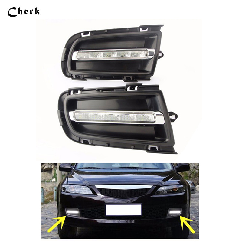 For Mazda 6 2005 2006 2007 2008 2009 LED Car DRL Daytime Running Light Daylight Waterproof Fog Lamp Fog Run External Lights 2pcs 1 pair metal shell eagle eye hawkeye 6 led car white drl daytime running light driving fog daylight day safety lamp waterproof