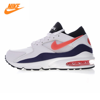 Nike Air Max 93 Men's Running Shoes, White & Black Shock absorbing Breathable Non slip Lightweight 306551 102