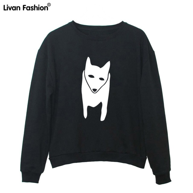 08c082beae Animal Fox Printed Women Sweatshirts O-neck Long Sleeve Pullover Hoodies  HLE-ST4032