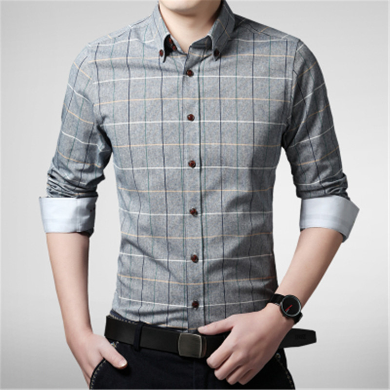 New arrival 2017 spring men shirt lattice design korean for In style mens shirts