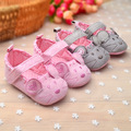 cute mouse grey pink baby girl canvas princess dress shoe flower Baby Moccasins shoes child First Walkers soft sole high quality