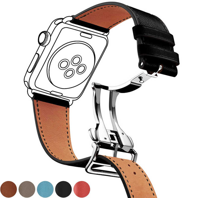 Correa de cuero genuino para apple watch banda 44mm 40mm 42mm 38mm iwatch apple watch 5/4/3/2/1 pulsera hebilla de reloj
