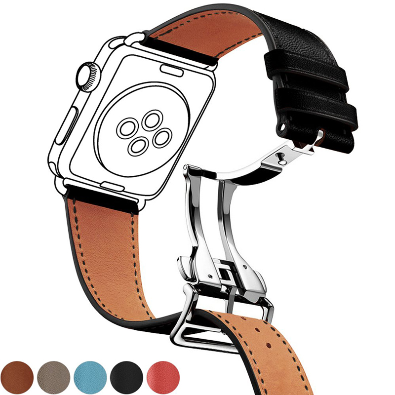 Genuine Leather Strap For Apple Watch Band 44mm 40mm 42mm 38mm Iwatch Apple Watch 5/4/3/2/1 Bracelet Deployment Buckle Watchband