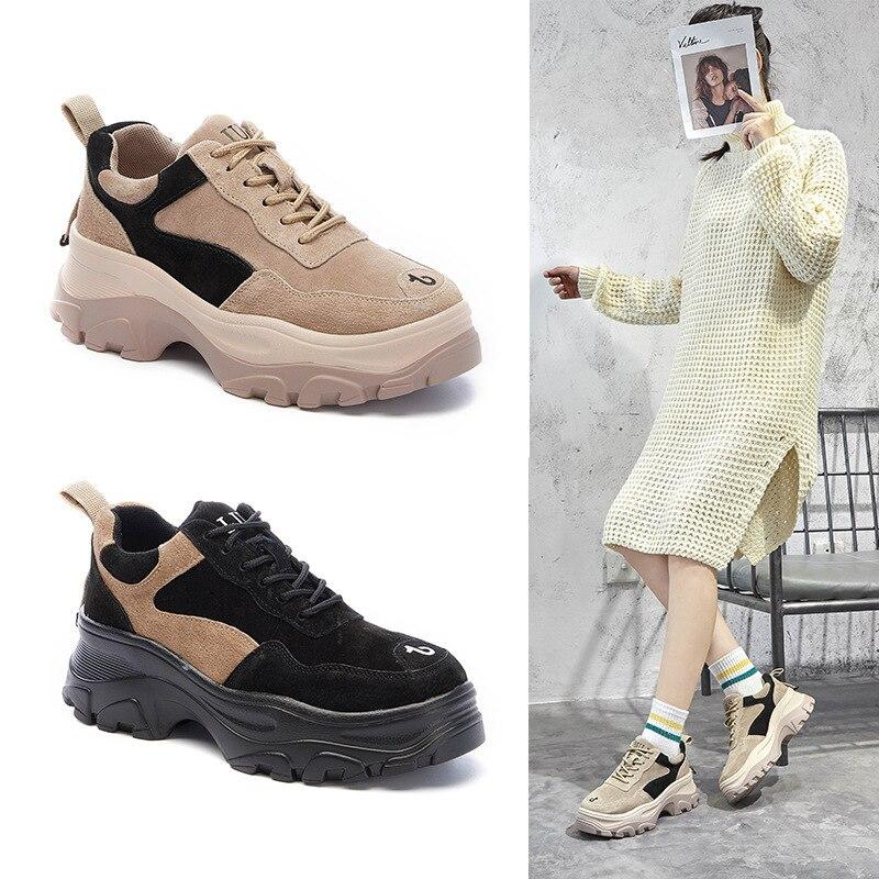 Zapatillas Casual Gruesa Mezclados Zapatos De Encaje Moda negro Deporte  Mujeres La Transpirable Colores Cruz atado Suela ... f5e8b7d9e732