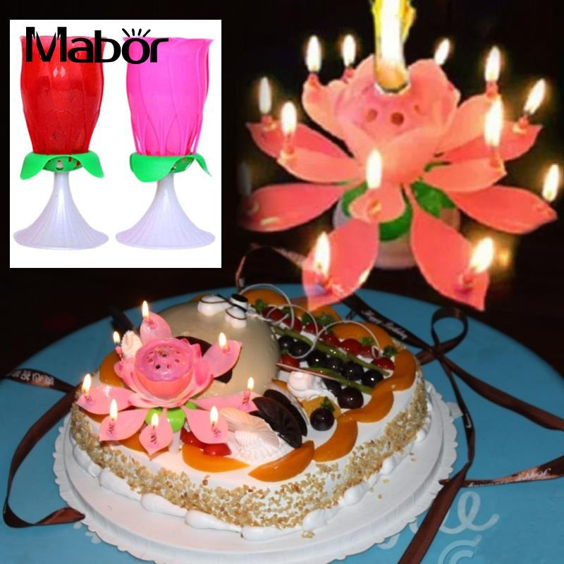 Beautiful Brithday Candles Lamp Musical Rose Rotating Double Layer Decoration Party Candle Lamp Novelty Light