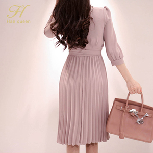Image 5 - H Han Queen Womens 2019 New Notched Neck Pleated Dress Draped Lace Up Bow A line Dresses OL Elegant Work Wear Business Vestidos