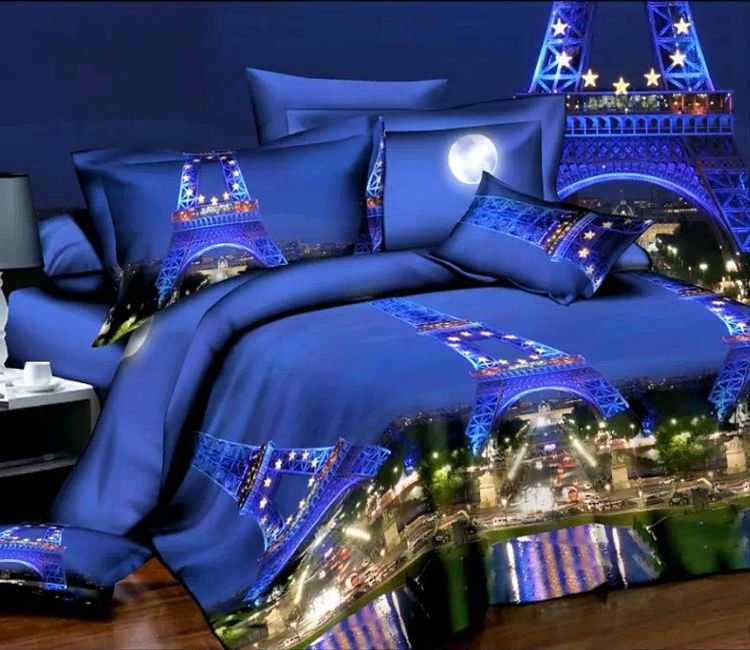 Paris eiffel tower bedding set sheet queen size full double quilt ...