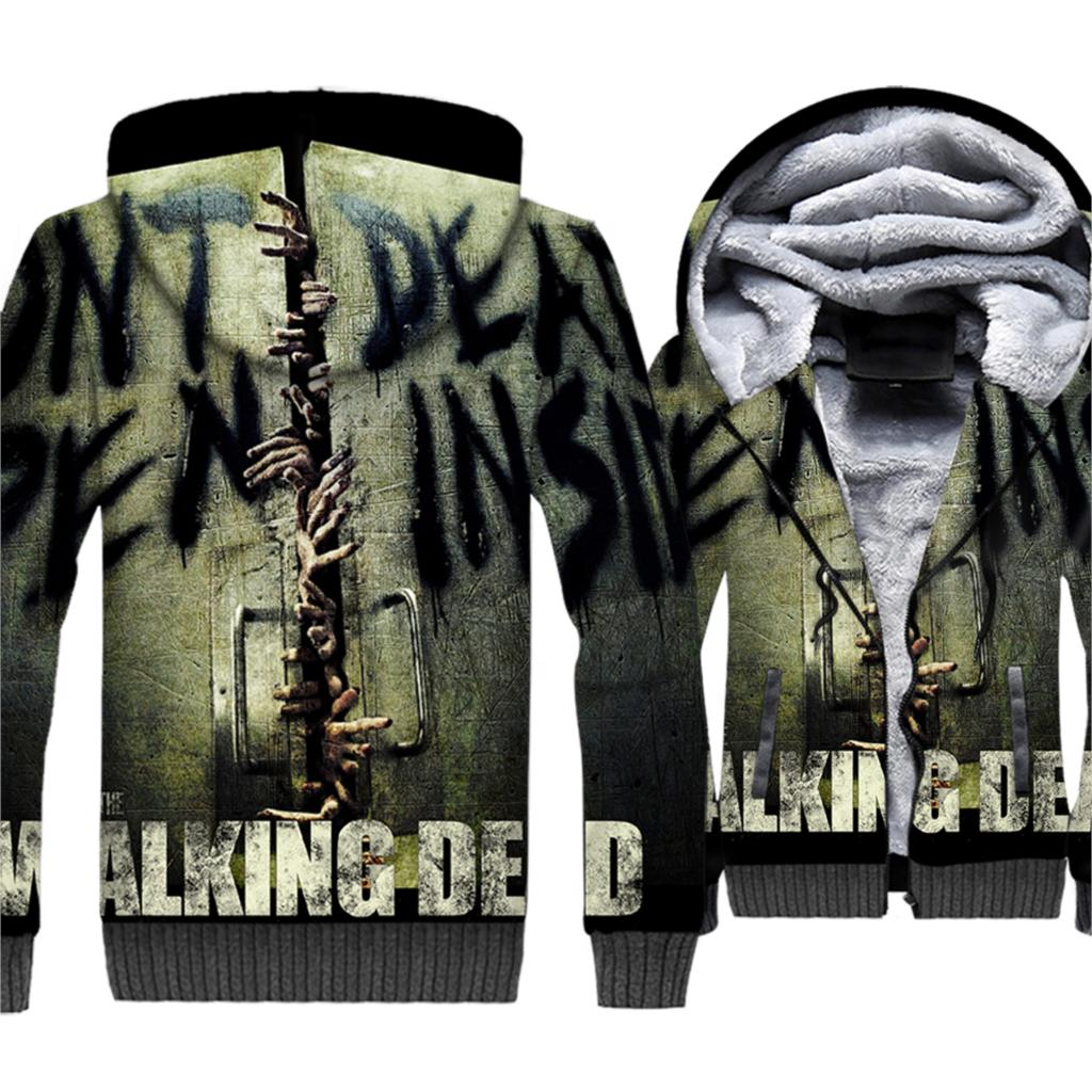 The Walking Dead Hip Hip 3D Hoodies Men 2019 Autumn Winter Thick Warm Fleece Jackets Punk Style Sweatshirts Plus Size Men's Coat