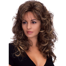cheap good quality fluffy long wig heat resistant synthetic wigs natural curly hair harajuku brown wig ombre wigs cosplay peruca