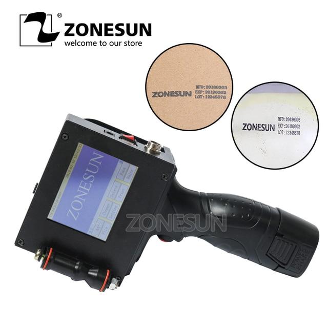 ZONESUN מגע מסך כף יד אינטליגנטי USB QR 360 תואר הזרקת דיו מדפסת קידוד מכונה עבור קרטון גומי מתכת תפוגה