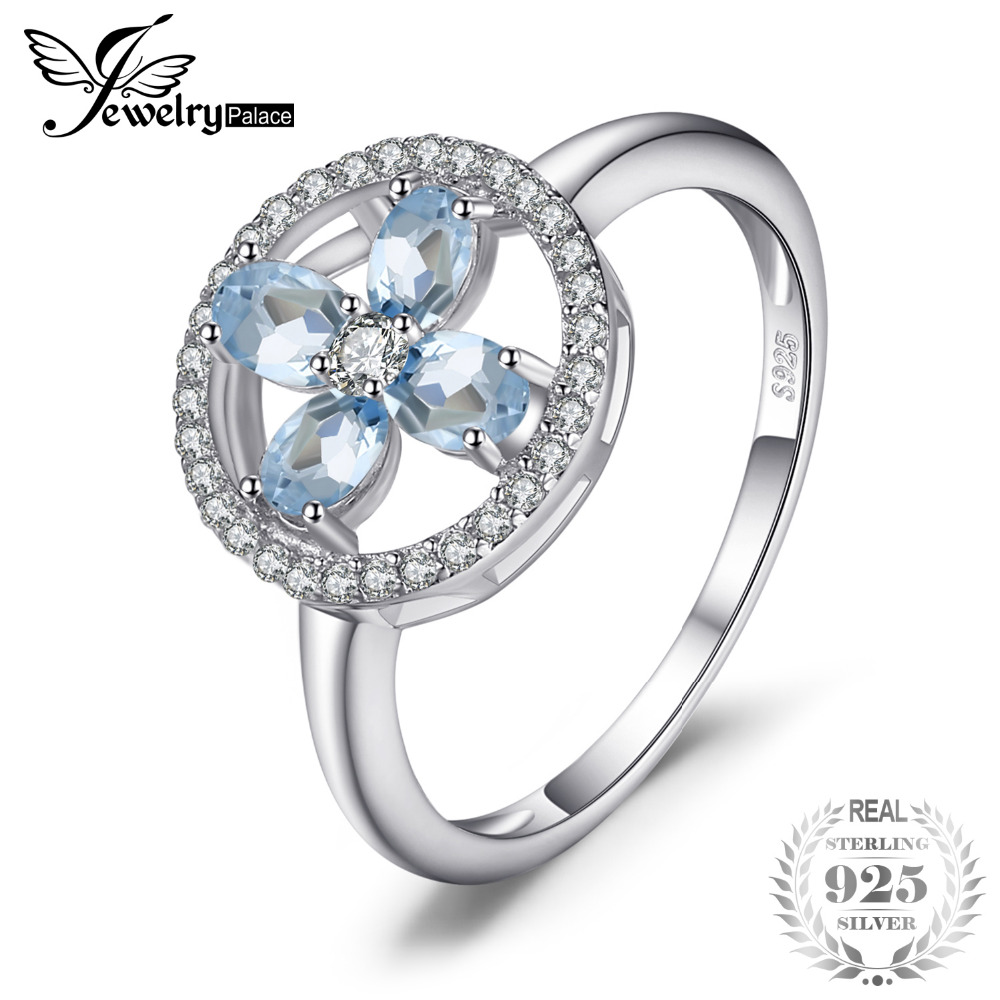 JewelryPalace Flower 0.8ct Aquamarines Ring 925 Sterling Silver Fashion Jewelry Charm Rings For Women Brand New 2018 Hot Salling