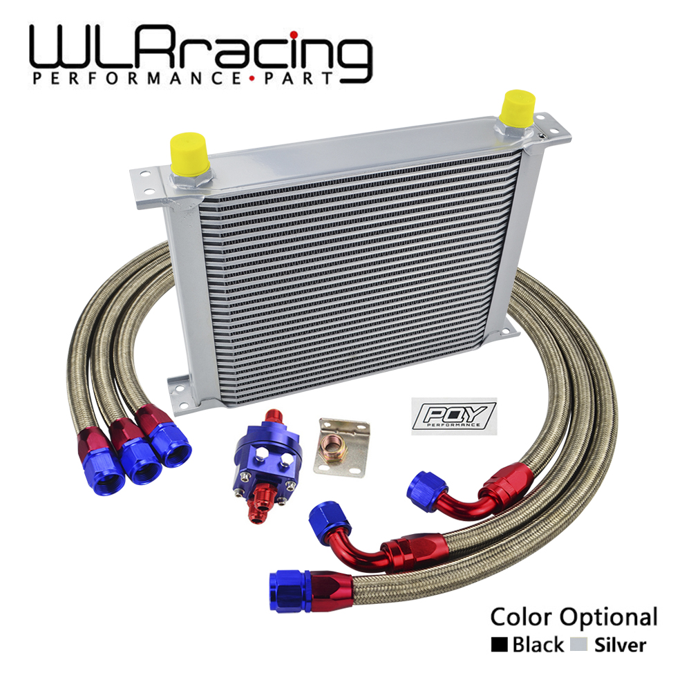 WLRING - UNIVERSAL 30 ROWS AN10 OIL COOLER KIT +OIL FILTER ADAPTER + NYLON STAINLESS STEEL BRAIDED HOSE WITH PQY STICKER+BOX wlring oil filter sandwich adaptor for high quality oil filter remote block with thermostat 1xan8 4xan10 orb female wlr6744
