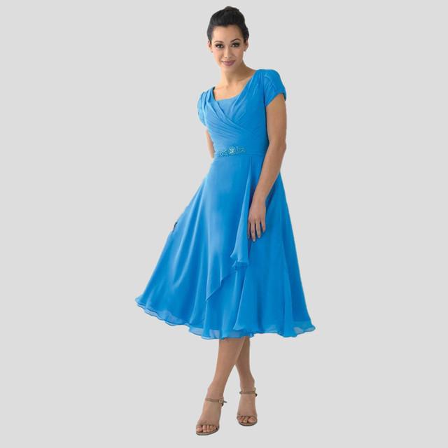 Plus Size Mãe da Noiva do Noivo Vestidos de Casamento Para 2016 Vestidos de festa Chiffon Azul Vestido Madre Novia Tea Comprimento Calças Baratos