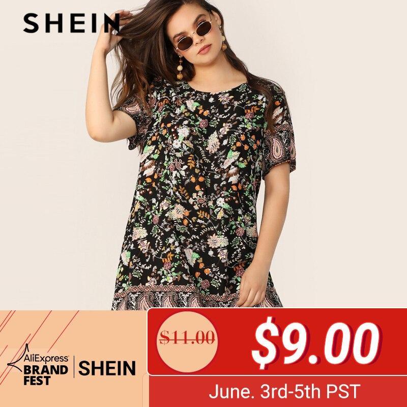 SHEIN плюс размер многоцветное Платье-туника с цветочным принтом и принтом Пейсли 2019 женское летнее богемное платье с коротким рукавом и круг...