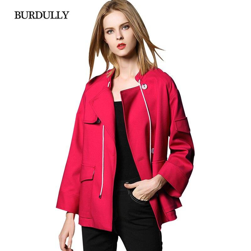 Inverno Décontracté Jaqueta Femmes Red Style Solide Feminina Britannique Veste Couleur Mode Burdully D'hiver 2019 Manteau WE9YDH2I