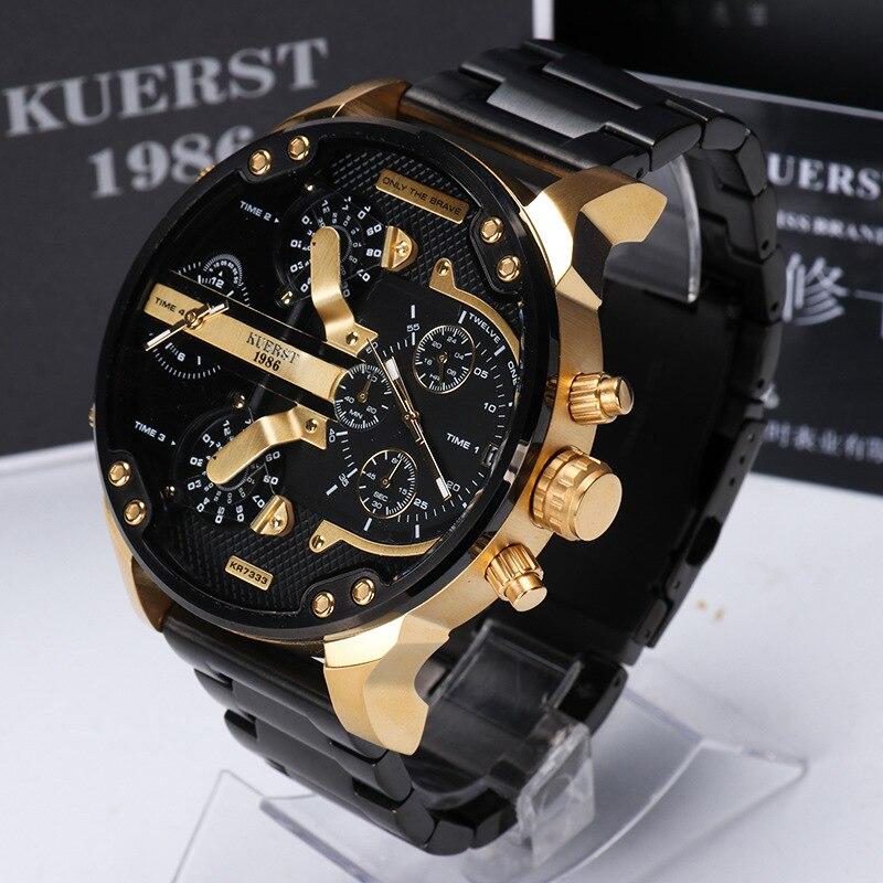 KUERST мужские золотые часы люксовый бренд водонепроницаемые спортивные кварцевые часы Четыре часовых пояса дисплей большой циферблат наручные часы мужские 2019 Новинка - 4