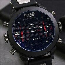 6 11 New Big Mens Watch Black Quartz Back Light Waterproof Sport Watch Mens Multiple Time