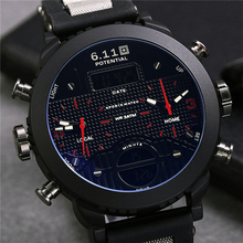 6.11 New Big Mens Watch Black Quartz Back Light Waterproof Sport Watch Mens Multiple Time Zone Relogio Masculino
