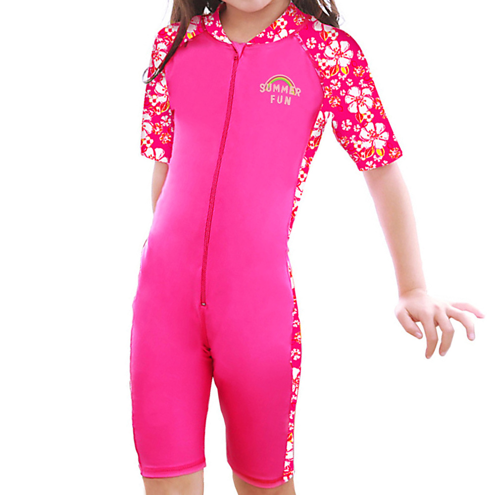 Girls Swimsuit One Piece Kids Short Sleeve Sun Protection (UPF50+) Rash Guard Bathing Suit for Baby Girls Children Swimming Suit ...