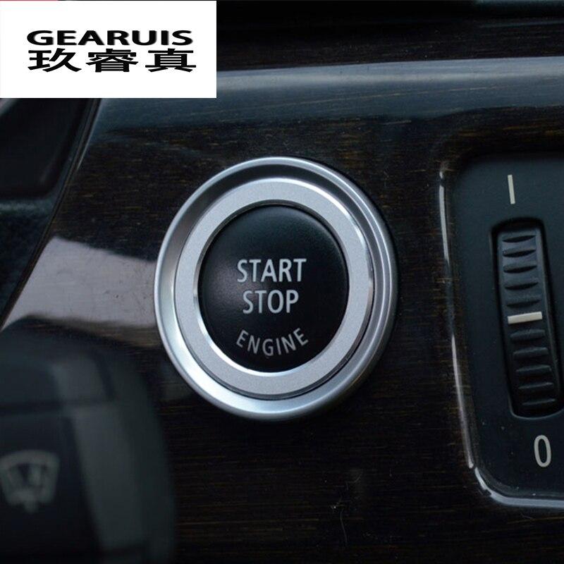 Estilo do carro Da Liga de Alumínio Do Motor Start Stop Guarnição Anel Chave de Ignição anel para BMW E90 E92 E93 Série 3 Interior Acessórios capa