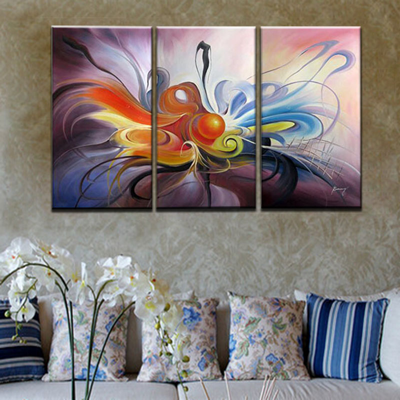 Unframed 3 panel handmade modern abstract canvas oil for 3 panel painting