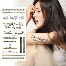 Gold / Silver Temporary Tattoos 24 Sheets Set