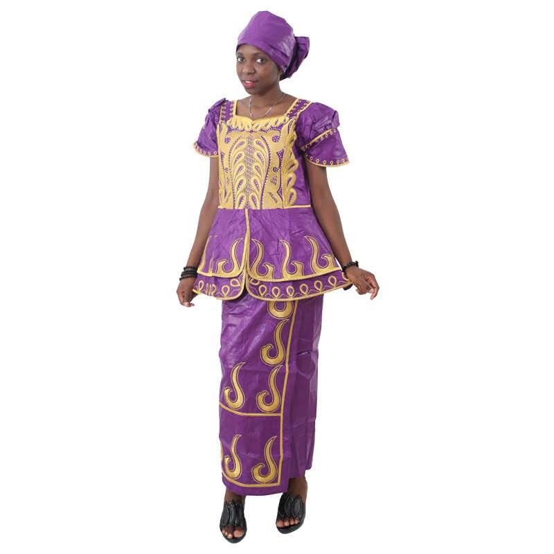 MD אפריקאי bazin riche שמלת לנשים מסורתית רקמת טלאי דאשיקי כותנה חולצות חצאיות סט עם ראש כורכת בגדים