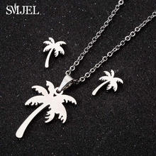 SMJEL Stainless Steel Tree Necklaces for Women Bohemian Coconut Palm Statement Necklace Hawaii Jewelry Wholesale