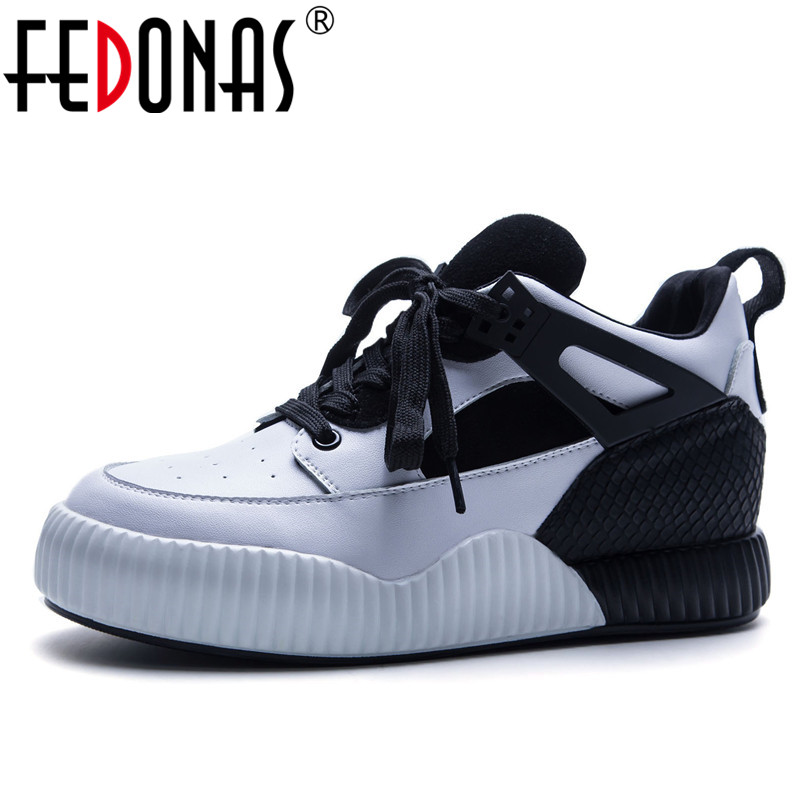FEDONAS 2018 Fashion Women Platforms Genuine Leather Casual Shoes Mix-colors Woman Flats Shoes Ladies Lace-up Sport Sneakers
