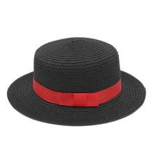 Шляпа женская Соломенная с красной лентой