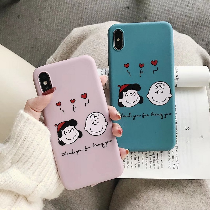 by Alberttom Funny Cute Cartoon Peanuts Case for iPhone 7 8 Plus X XS Max XR 11 PRO MAX Soft Phone Cover