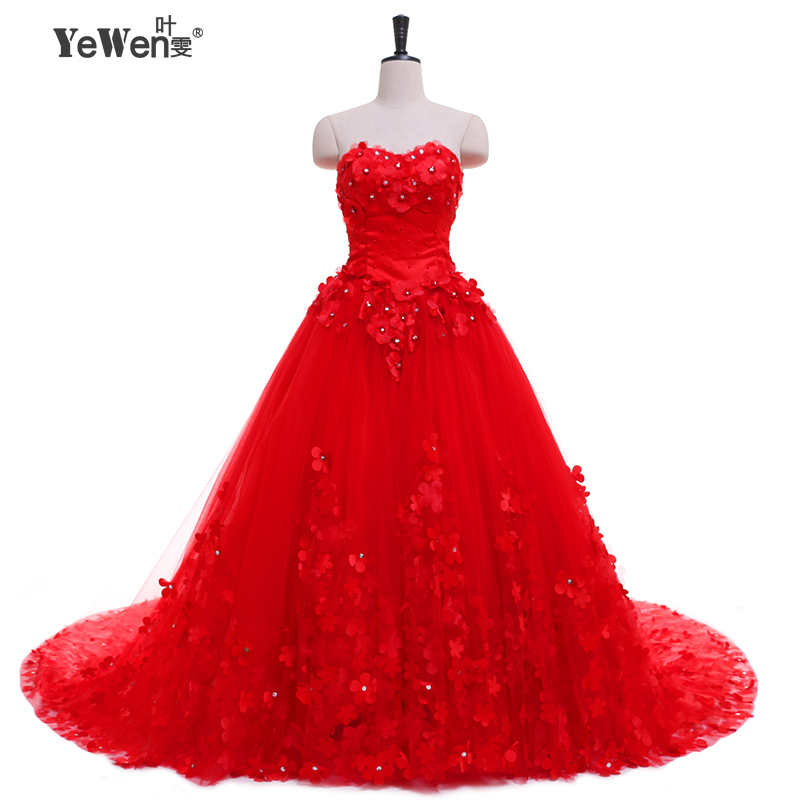 Cheap beach plus size vintage flowers big train boh ivory for Big red wedding dresses