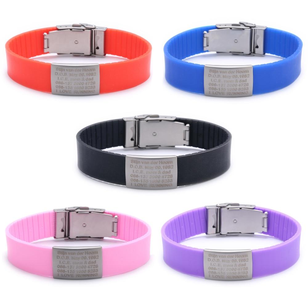 Personnalisé Enfants ID Bracelet Enfant Gravé Des Bracelets D'identification Bébé SOS Poignet Bande Enfants Garçons ID de Sécurité Bracelets En Silicone