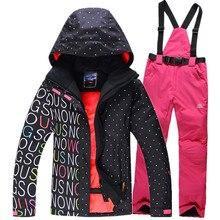 New High Quality Women Ski Suit Sets Windproof Waterproof Winter Ski Jacket+Pants Warm Breathable Women Jacket