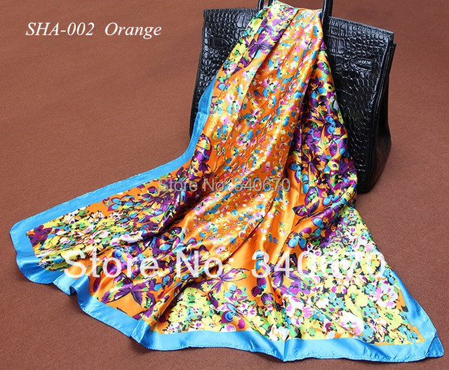 Silk Scarf square 2016 New Fashion High Quality Wind Love Heart Leisure all-match Lady Shawl and Silk Scarves 90x90cm Wholesale